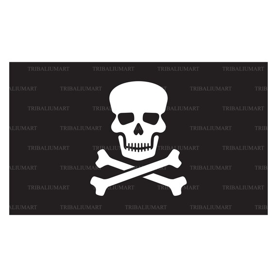 Pirate Flag With Skull And Cross Bones Jolly Roger Cut Etsy