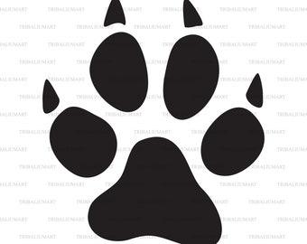 Cat paw print. Cut files for Cricut. Clip Art silhouettes (eps, svg, pdf, png, dxf, jpeg).