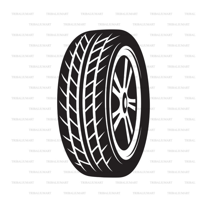 Tire Car (Wheel, Tyre)  Cut files for Cricut  Clip Art silhouette (eps,  svg, pdf, png, dxf, jpeg)