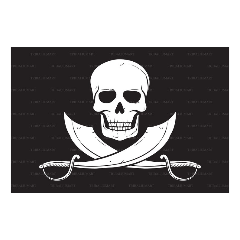 Cut files for Cricut Pirate flag with skull and crossed sabers Clip Art Jolly Roger . eps, svg, pdf, png, dxf, jpeg