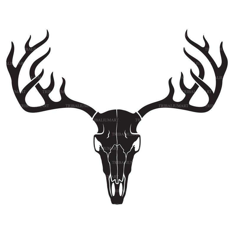 eps, svg, pdf, png, dxf, jpeg Cut files for Cricut horns Clip Art silhouette . Deer skull with antlers