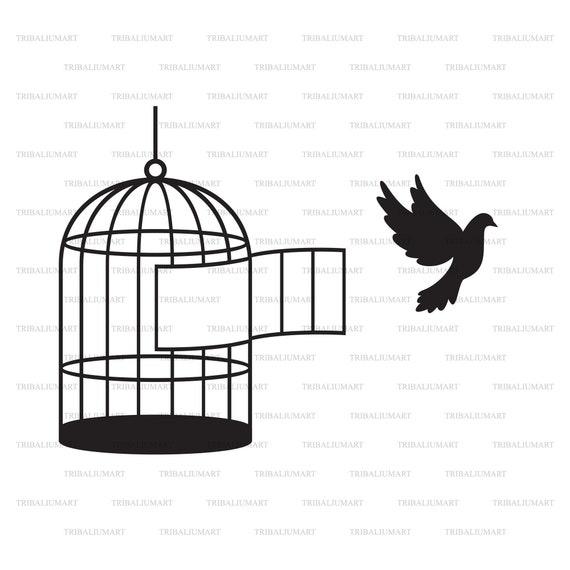 Bird SVG File Bird Cage Clipart Bird Clipart Bird Cage Svg Bird Cut File Birds DXF Bird Cricut SVG Bird Cutting File