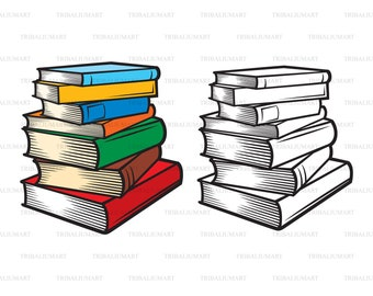 Stack of books. Cut files for Cricut. Clip Art (eps, svg, pdf, png, dxf, jpeg).