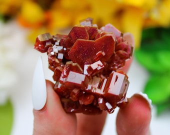 Vanadinite gemstone crystal display case pieces for mineral collectors