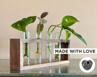 Premium Handcrafted Wooden Walnut Propagation Station Plant Stand with Glass Tubes for Indoor & Outdoor Plant Cuttings - Table decoration