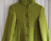 Coat laced jacket for teen girl button handmade color spring green. To order