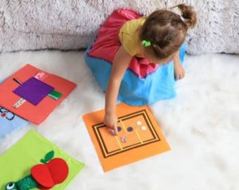5 Tantino Activity Boards 25x25 cm,  10 Activities , Sensory Boards, Busy Boards,Montessori Boards,Quiet Book,Busy Book, 6 Months Toy