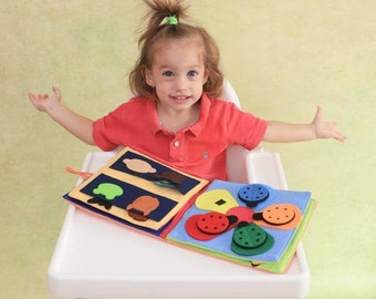 Quiet Book Activity Toddler Sensory  , Educational Felt Soft Book Sewn by Tantino Toys - Orange - Learn Colors and Animals