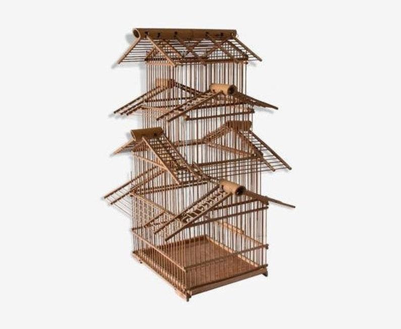 Vintage Wood Bird Cage Spectacular in Bamboo  Wood Birdcage, Rattan Birdcage