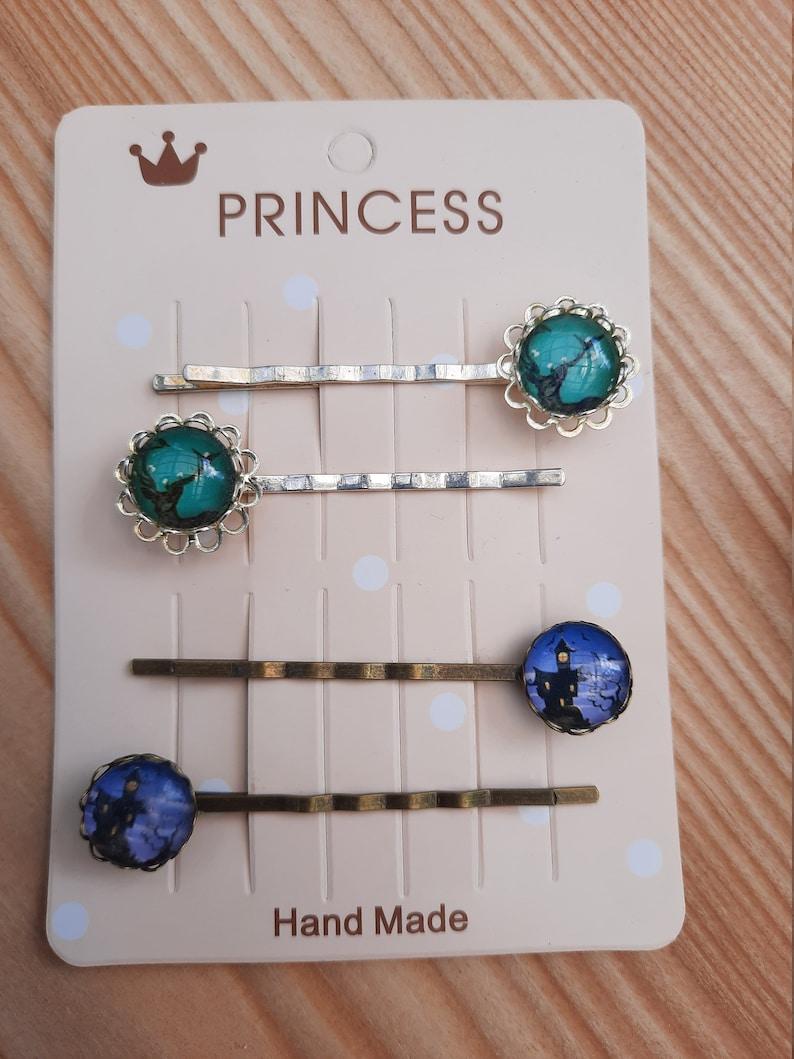 Set of 4 hair clips hair clips kids jewelry vintage retro handmade Halloween hair accessories