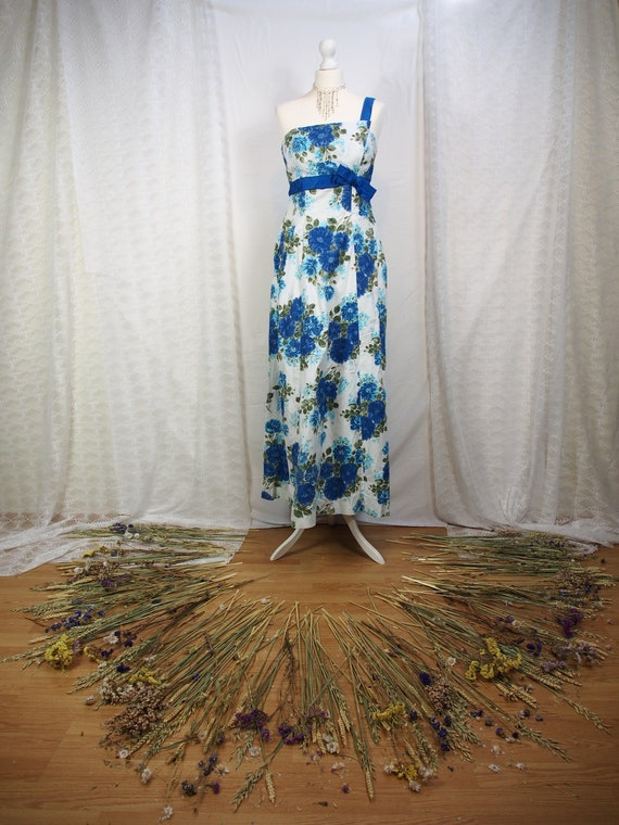 "Gorgeous 1950s one strap blue floral ball gown ""Pe"