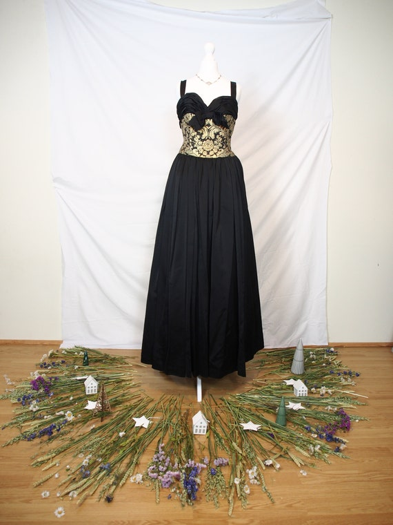 Unique 1950s black and gold brocade ball gown
