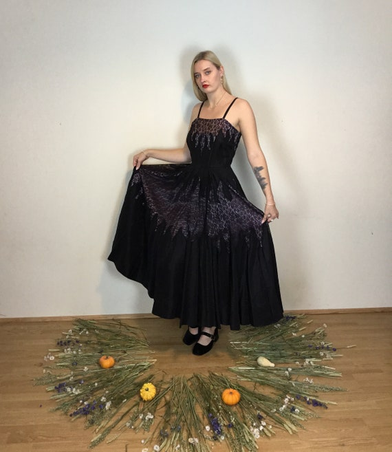 Gorgeous 1950s large black and lilac ball gown