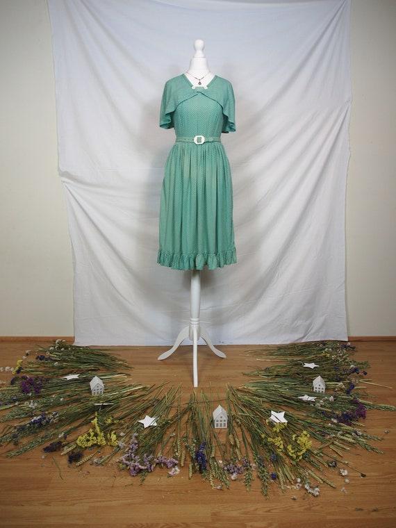 Lovely 1950s polka dot cape dress