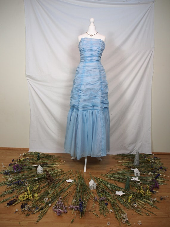 Breathtaking 1950s pastel blue bustier ball gown