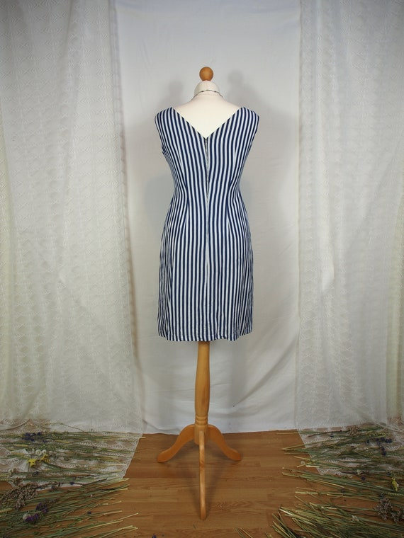 Amazing 1950s striped wiggle dress with sweethear… - image 5