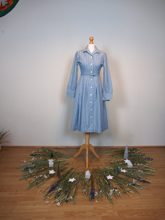 Wool 1950s small blue and white striped dress