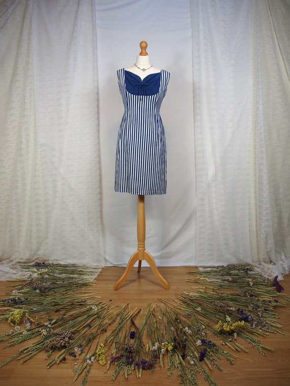 Amazing 1950s striped wiggle dress with sweethear… - image 1