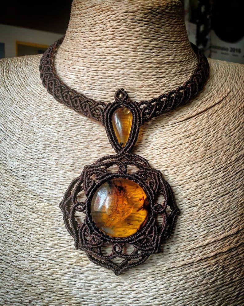 Macrame necklace with amber  boho  brown  crystal necklace  hippy  mandala  pendant  natural stone  amber  tribal  ethnic