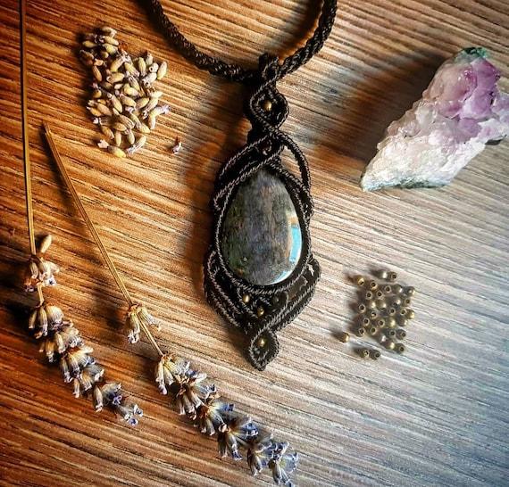 Black macrame necklace with Golden Obsidian  obsidian  black  macrame  necklace  boho  hippy  ethnic  pendant  tribal   handmade