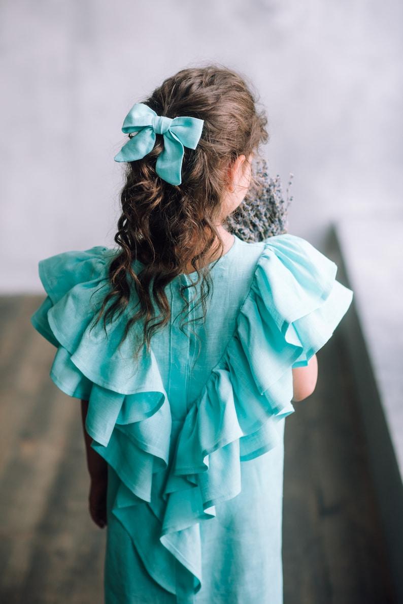boho toddler dress country flower girl dress linen Girls linen dress mustard mustard girl dress rustic girl gown natural linen girl