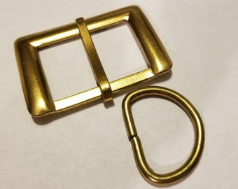 Gold tone metal belt buckle and D-ring for 1 1 2