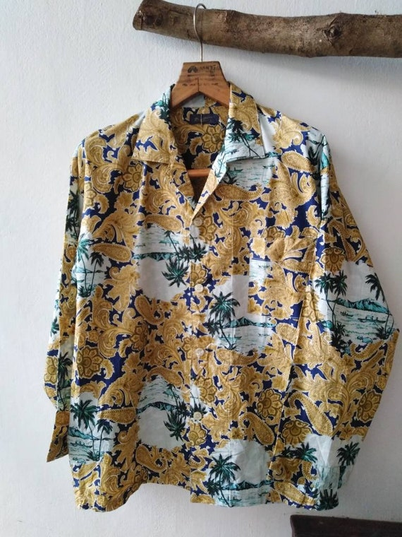 Hawaiian long sleeves Shirt / Vintage Hawaiian Shi
