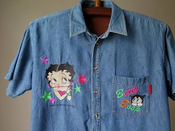 vintage betty boop denim shirt 90's betty boop shi