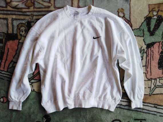 vintage nike sweater nike 90s white sweater hiphop