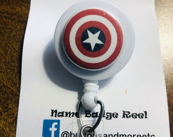 Name Nurse Decorative Badge Reel Clip on Card Holders Captain America Coffee Retractable ID Card Badge Holder with Alligator Clip
