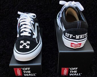 30c77fe90ec375 Off White Inspired Custom Old Skool Vans Custom