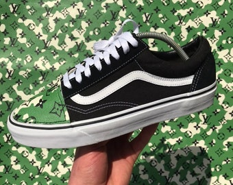 94a617752a4 Louis Vuitton Green Camo Old Skool Vans Custom