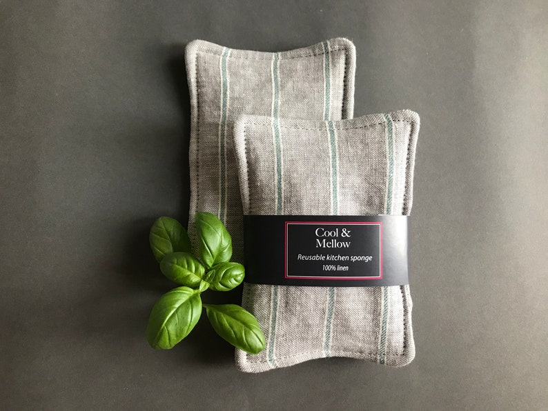 Natural eco friendly dish wash cloth. Set of 2 gray linen reusable sponges with green stripes Washable unsponge for a zero waste home
