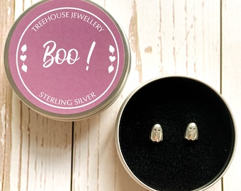 Sterling Silver Happy Ghost Earrings in a Boo! Gift Tin