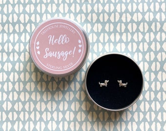Sterling silver Sausage Dog Earrings in Hello Sausage Gift Tin