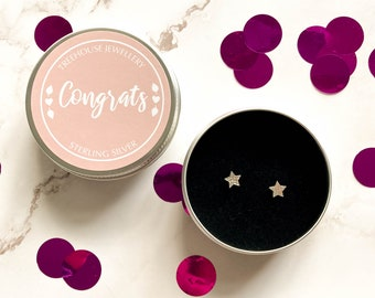 Sterling Silver Star Earrings in Congrats Gift Tin