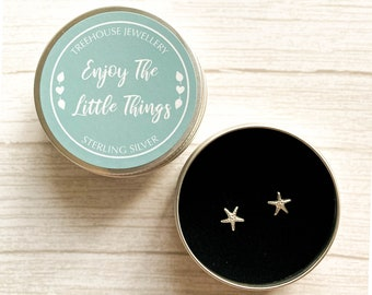 Sterling silver Starfish Earrings in an Enjoy The Little Things Gift Tin