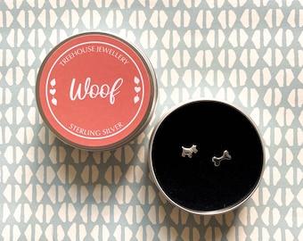 Sterling silver Dog & Bone Earrings in a Woof Gift Tin