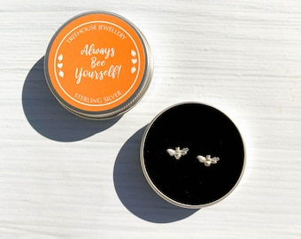Sterling Silver Delicate Bee Earrings in Gift Tin.