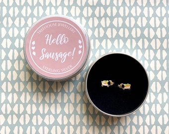 Sterling Silver Hotdog / Sausage Dog Earrings in Hello Sausage Gift Tin
