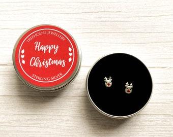 Sterling Silver Reindeer Earrings in Gift Tin. Rudolf Christmas Earrings.