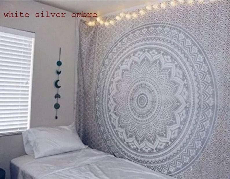 Wall Tapestry Mandala Tapestry Wall Hanging Tapestry Grey image 0