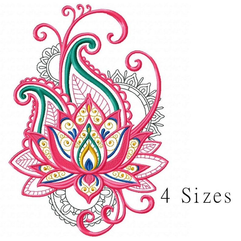 Lotus Flower Embroidery Design Instant Download Lotus Flower Etsy