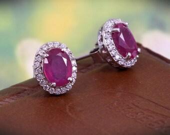 f1fde309c Genuine Natural Ruby Earrings,Stud Earrings in 925 Sterling Silver, Dainty  Vintage Earrings, Beautiful Bridesmaid Earrings, Boho Earrings