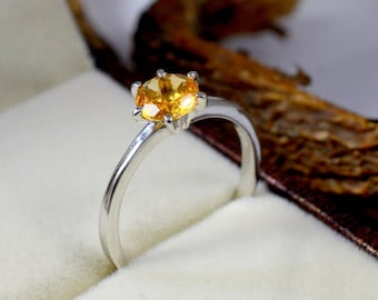 Citrine 925 Sterling Silver Adjustable Ring Women/'s Gemstone Jewellery Plain and Simple Minimalist Yellow Citrine Ring UK Seller For Her