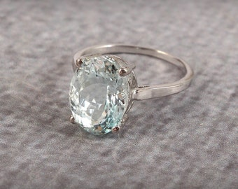Natural Aquamarine Ring, Alternative Engagement Ring, Statement Handmade Ring, March Birthstone Ring, 925 Sterling Silver, Gift Women Her