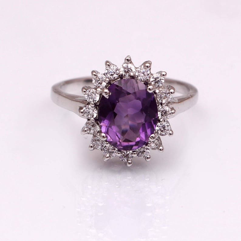 Natural Amethyst Ring,Halo Cluster Ring,Dainty Minimalist Ring,Purple Stone Ring,Alternative Engagement Ring,925 Sterling Silver,Gift Women
