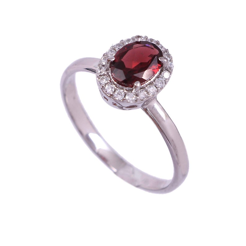 Natural Garnet Ring-Halo Stacking Ring-Vintage Cluster Ring-January Birthstone Ring-Gift for Her Women Mom-Proposal Ring-925 Sterling Silver