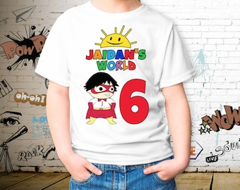 45b9edc9d Ryan World Birthday Youth T-shirt, Ryan World Birthday Toddler,  Personalized Name and Age, Unisex Kid's T-shirt, Personalize T-shirt
