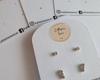 Round Stud Earring Display Cards Suitable for Small Earrings Made from Recycled Card. Beautiful Branded Jewellery Packaging